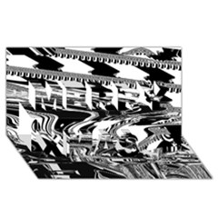 Bw Glitch 1 Merry Xmas 3D Greeting Card (8x4)
