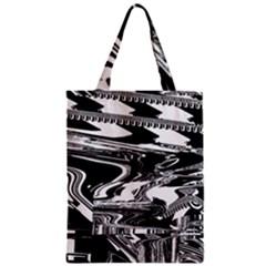 Bw Glitch 1 Zipper Classic Tote Bags