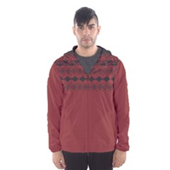 Aztec Red Hooded Wind Breaker (Men)
