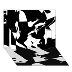 Bw Glitch 2 I Love You 3D Greeting Card (7x5)