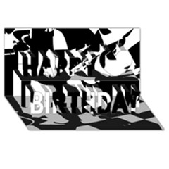 Bw Glitch 2 Happy Birthday 3D Greeting Card (8x4)