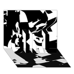 Bw Glitch 2 GIRL 3D Greeting Card (7x5)