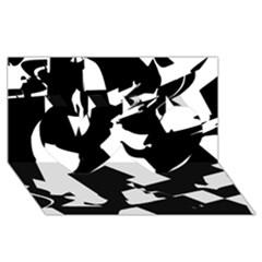 Bw Glitch 2 Twin Hearts 3D Greeting Card (8x4)