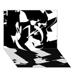 Bw Glitch 2 Peace Sign 3D Greeting Card (7x5)
