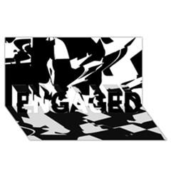 Bw Glitch 2 Engaged 3d Greeting Card (8x4)
