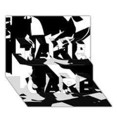 Bw Glitch 2 Take Care 3d Greeting Card (7x5)
