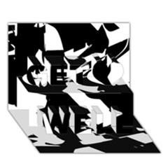 Bw Glitch 2 Get Well 3D Greeting Card (7x5)