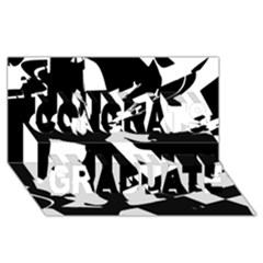 Bw Glitch 2 Congrats Graduate 3d Greeting Card (8x4)