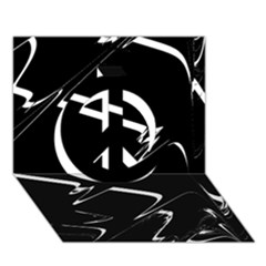 Bw Glitch 3 Peace Sign 3d Greeting Card (7x5)