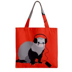 Funny Music Lover Ferret Zipper Grocery Tote Bags