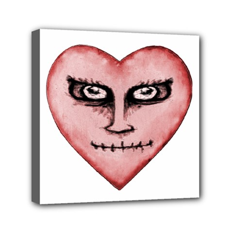 Angry Devil Heart Drawing Print Mini Canvas 6  x 6