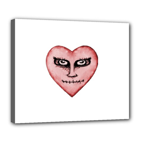 Angry Devil Heart Drawing Print Deluxe Canvas 24  x 20