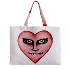 Angry Devil Heart Drawing Print Zipper Tiny Tote Bags