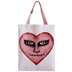 Angry Devil Heart Drawing Print Zipper Classic Tote Bags