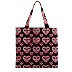 Angry Devil Hearts Seamless Pattern Zipper Grocery Tote Bags