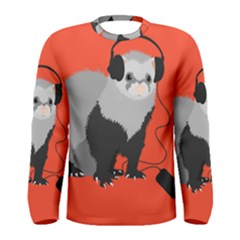 Funny Music Lover Ferret Men s Long Sleeve T Shirts