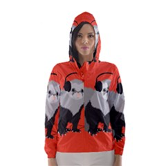 Funny Music Lover Ferret Hooded Wind Breaker (women)
