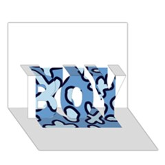 Blue maths signs BOY 3D Greeting Card (7x5)