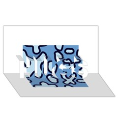 Blue Maths Signs Hugs 3d Greeting Card (8x4)