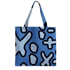 Blue maths signs Zipper Grocery Tote Bags