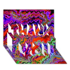 Happy 3 Red Thank You 3d Greeting Card (7x5)