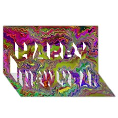 Happy 3 Happy New Year 3D Greeting Card (8x4)