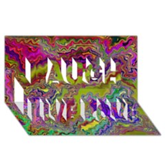 Happy 3 Laugh Live Love 3d Greeting Card (8x4)