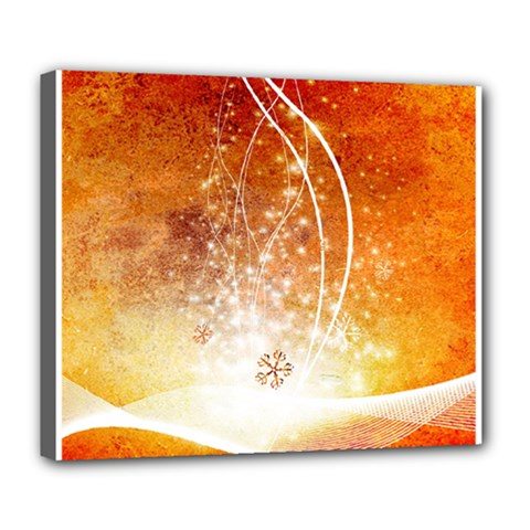 Wonderful Christmas Design With Snowflakes  Deluxe Canvas 24  x 20