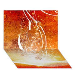 Wonderful Christmas Design With Snowflakes  Apple 3d Greeting Card (7x5)