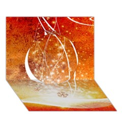 Wonderful Christmas Design With Snowflakes  Circle 3D Greeting Card (7x5)