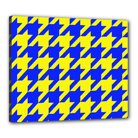 Houndstooth 2 Blue Canvas 24  x 20