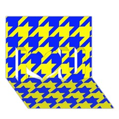 Houndstooth 2 Blue I Love You 3D Greeting Card (7x5)
