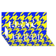 Houndstooth 2 Blue Best Friends 3D Greeting Card (8x4)