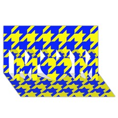Houndstooth 2 Blue MOM 3D Greeting Card (8x4)