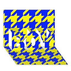 Houndstooth 2 Blue BOY 3D Greeting Card (7x5)