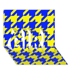 Houndstooth 2 Blue GIRL 3D Greeting Card (7x5)