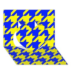 Houndstooth 2 Blue Heart 3D Greeting Card (7x5)