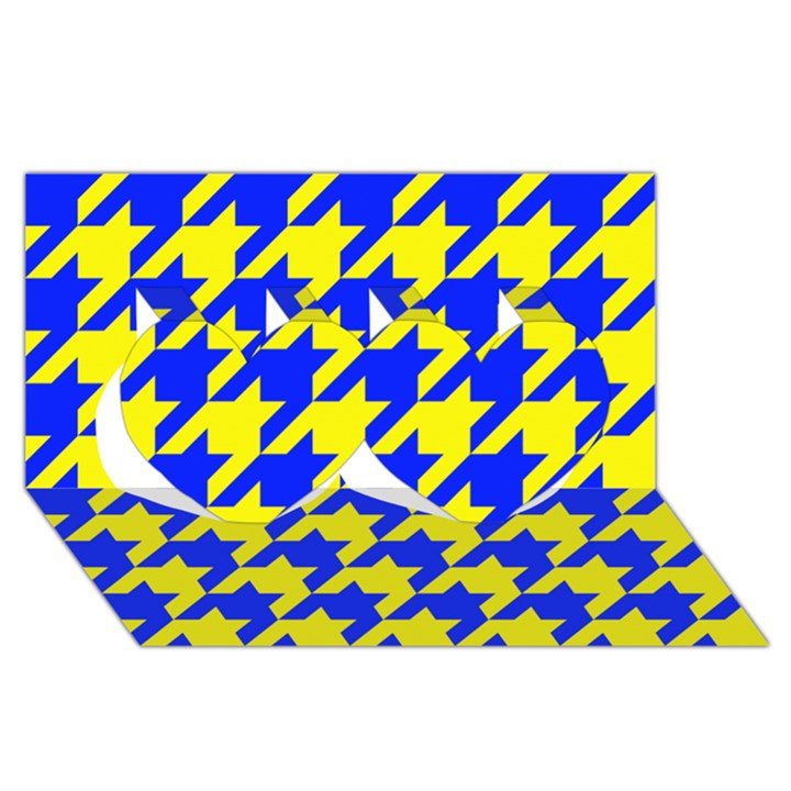 Houndstooth 2 Blue Twin Hearts 3D Greeting Card (8x4)