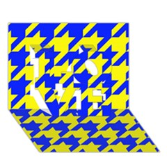 Houndstooth 2 Blue LOVE 3D Greeting Card (7x5)