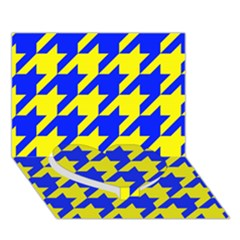 Houndstooth 2 Blue Heart Bottom 3d Greeting Card (7x5)