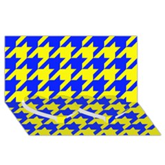 Houndstooth 2 Blue Twin Heart Bottom 3D Greeting Card (8x4)
