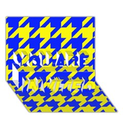 Houndstooth 2 Blue YOU ARE INVITED 3D Greeting Card (7x5)