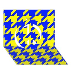 Houndstooth 2 Blue Peace Sign 3D Greeting Card (7x5)