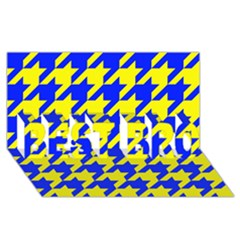Houndstooth 2 Blue Best Bro 3d Greeting Card (8x4)