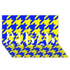 Houndstooth 2 Blue #1 Dad 3d Greeting Card (8x4)