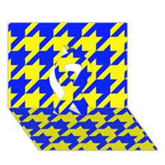 Houndstooth 2 Blue Ribbon 3D Greeting Card (7x5)