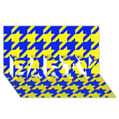Houndstooth 2 Blue Party 3d Greeting Card (8x4)