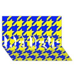 Houndstooth 2 Blue Believe 3d Greeting Card (8x4)