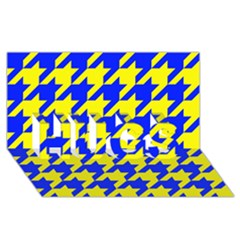 Houndstooth 2 Blue HUGS 3D Greeting Card (8x4)