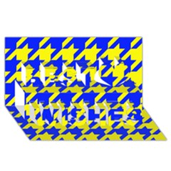 Houndstooth 2 Blue Best Wish 3D Greeting Card (8x4)